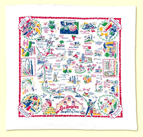 Los Angeles City & Area Map Kitchen Towel Primary Colors Retro Style