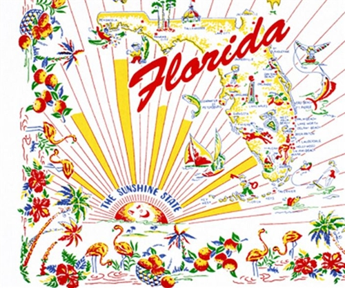 Florida The Sunshine State Vintage Retro Kitchen Towel State Map