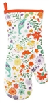 Bright Aqua Green Orange Florals PEACOCK Retro Style Oven Mitt