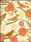 Birds & Dahlias Kitchen Towel Gorgeous Pumpkin Green Brown Colorings