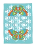 Fun Retro 60s Look Butterfly Kitchen Towel Aqua Blue Orange Green