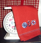 Cheerful Bright Red Nautical Themed Kitchen Towel Embroidered