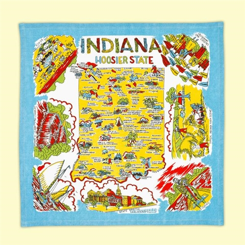 Indiana The Hoosier State MAP Souvenir Kitchen Towel Retro Blue Colors