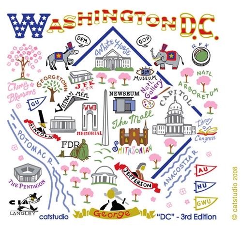 Washington DC MAP Kitchen Towel Great Graphics & Colors Added Embroidery