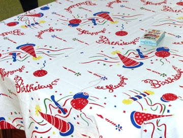 FUN Happy Birthday Tablecloth Primary Colors Cotton Hats Balloons Streamers
