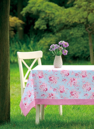 Shabby Chic Pink Roses On Blue With