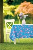 "Bright Blue & Pink 60"" SQ Tablecloth Tropical Flowers Birds Ruffled Hem"