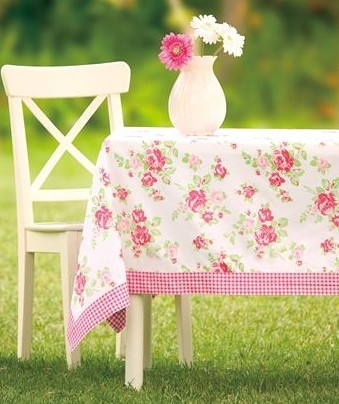Shabby Chic Pink Roses Gingham