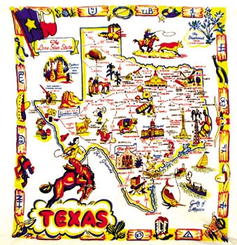 TEXAS State Map Souvenir Reproduction Tablecloth - Texas state map