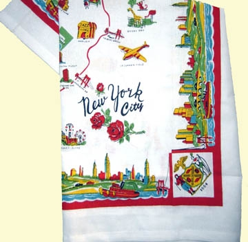 New York City Map Retro Vintage Style Kitchen Tablecloth Fabulous COLORFUL
