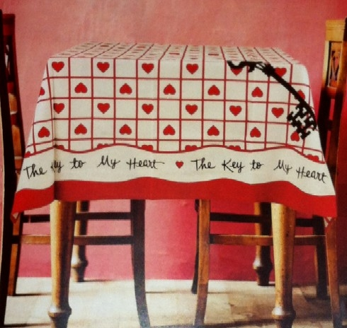 Marvelous Retro Vintage Valentine Tablecloth Key To My Heart Vintage Hankie Design