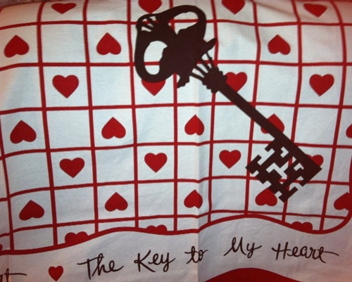 Retro Vintage Valentine Tablecloth Key To My Heart Vintage Hankie Design