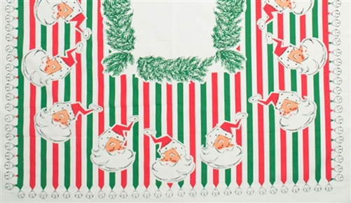 santa bells vintage reproduction christmas tablecloth mid century graphics
