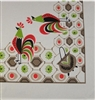 Darling Retro Kitchen Tablecloth Rooster Design Taupe Green Orange