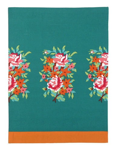 Roses Flowers Corals Oranges On Dark Teal Green Kitchen Towel