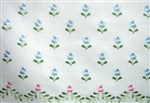"Blue Embroidered Flowers Society Thread 8"" Deep Queen Bed Sheet 2 Cases"
