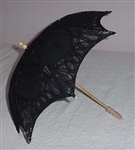 Childs BLACK Battenburg LACE Parasol Sun Umbrella