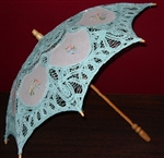 Mint Green Lace Childs Parasol Embroidered Insets Flower Girls ~ Photo Prop