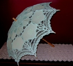 Mint Green Adult Parasol Belgian Lace Embroidered Umbrella