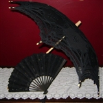 Parasol BLACK Belgian Lace with Embroidered Umbrella