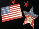 SPARKLY patriotic ornaments S/2 4th July Memorial Day Any Day