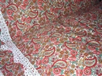 "Delightful Pink & Green Paisley Handmade Pillowcase 2"" Crochet Trim"