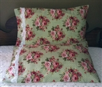 Stunning Handmade Pillowcase Green with Pink Roses Crocheted Lace Trim