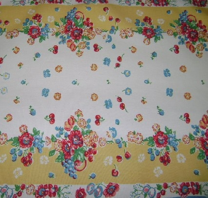 Retro Tablecloth Fabric Table Runner Bright Florals Fruit Yellow Red Aqua