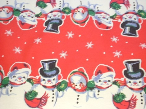 snowflake table decorations.htm vintage snowman snow people christmas table runner red  christmas table runner