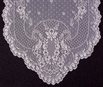 Feminine Airy Lace IVORY Table Runner Scarf Florals Scalloped 72""