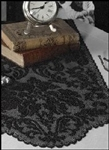 "Dramatic Black Damask Design Lace Table Runner Scarf Beautiful 14"" x 64"""