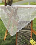 "Feminine Airy Lace WHITE 36"" sq. Tabletopper / Tablecloth"