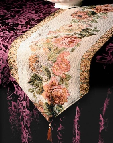 Gorgeous Tapestry Table Runner Dresser Scarf Antique Roses 71