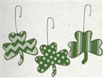 Set 3 Wood Shamrocks Ornament Stripes Dots Chevron Designs Saint Patricks Day