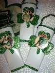 Saint Patricks Day Darling Set 3 Tin Wall Pockets Vintage Postcard Graphics Glitter