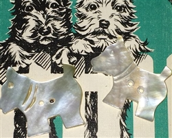 2 Vintage Carved Mother of Pearl MOP Buttons Scotty Scottie Dogs Cute