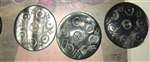 A Vintage Carved Black Mother of Pearl Button Varying Shades 1in