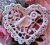 2 Venice Lace Heart Appliques w/ Bird so Sweet