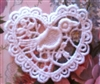 2 Venice Lace Heart Appliques w/ Bird so Sweet WHITE Free Ship