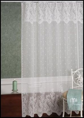 Feminine U0026 Airy Floral Design Point Du0027esprit Lace Shower Curtain Romantic!