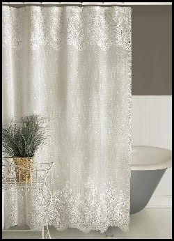 Feminine Airy Floral Design Point D Esprit Lace Shower Curtain