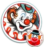 Darling Retro Party Circus CLOWNS Round Gift Tags Many Uses Free ship