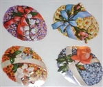 Beribboned Floral Easter Egg Stickers / Seals Victorian Replicas