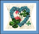 Gift Box Blue Forget me Nots 4 Leaf Clovers German Made