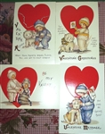4 Reproduction Vintage Valentine Postcards Embossed Precious Kids M. E. Price
