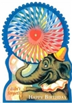 Circus Elephant Colorful Moving Wheel Vintage Look Birthday Card