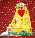 Moveable Valentine Card Reproduction Sailboat Hidden Cupid Darling!