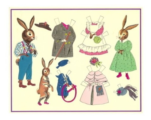 Large Easter Vintage Postcard Bunny Family Paper Dolls Too ...