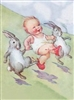 CUTEST EVER Toddler & Bunnies Hoppy Easter or Everday Blank Card ~ So Sweet