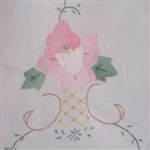 "White 58"" Tablecloth PINK Applique ROSES + 6 NAPK"